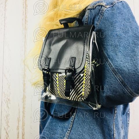 Рюкзак женский стильный с прозрачными вставками Чёрный