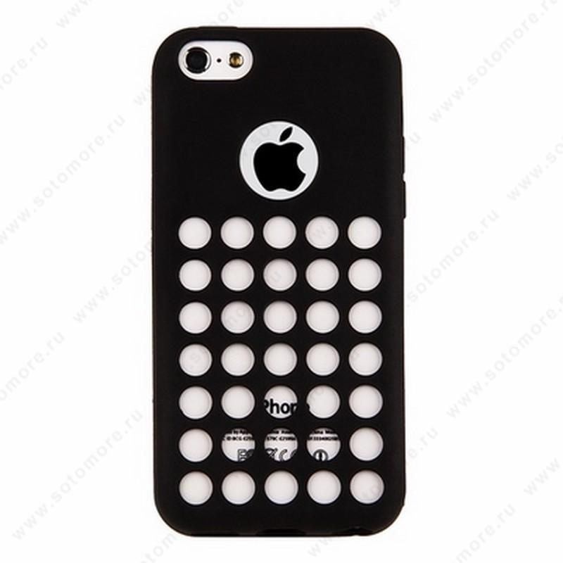 Накладка силиконовый TPU для Apple iPhone 5C с перфорацией черный