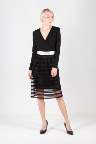 Фото платье с v-образным вырезом на декольте и полупрозрачной юбкой - Платье З416а-214 (1)