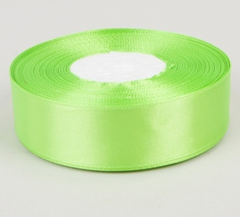 Лента атласная (размер 25 мм х 30 м) Цвет: салатовая