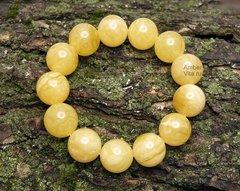 браслет из пейзажных янтарных шаров с диаметром 16,5 мм_фото жёлтого браслета