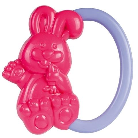 Погремушка - кролик, 0+ (розовый)