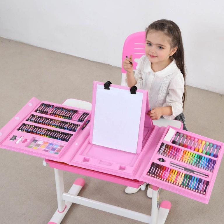 Складной художественный набор юного художника для рисования с мольбертом Розовый фото