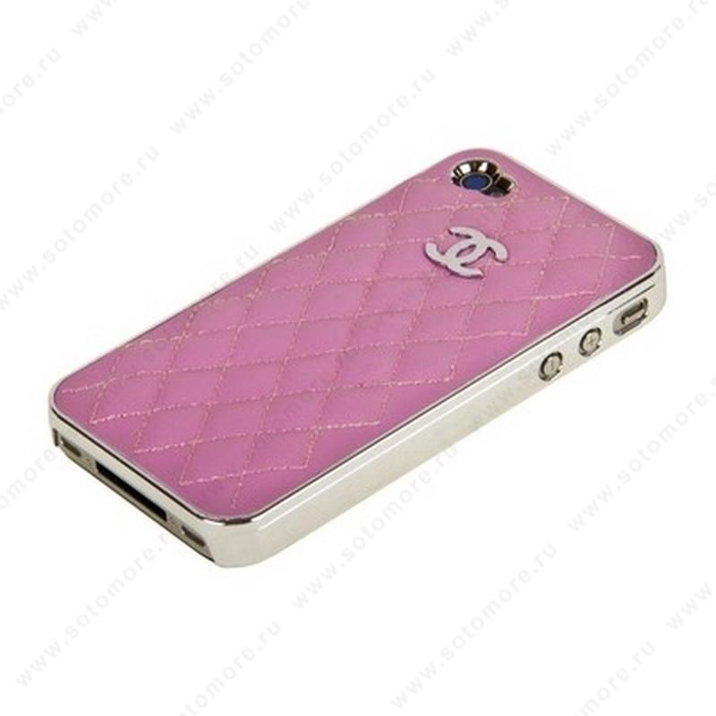 Накладка CHANEL для iPhone 4s/ 4 серебряная+розовая кожа