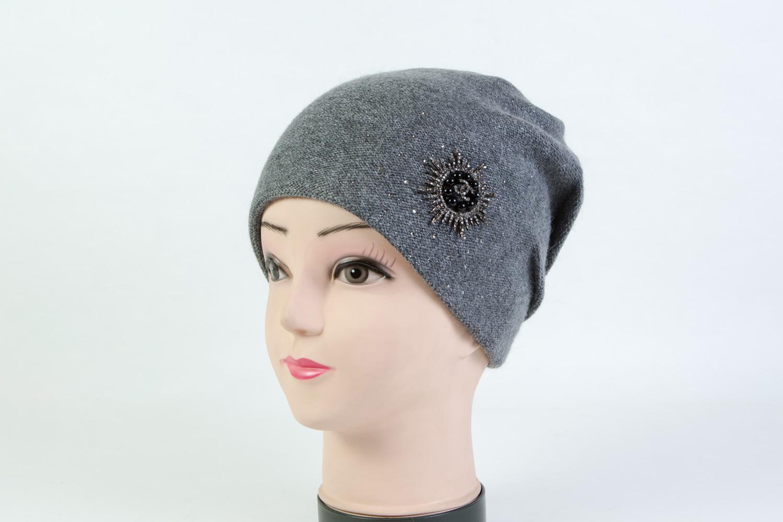 Женская шапка серая SH 7G-90002 grey