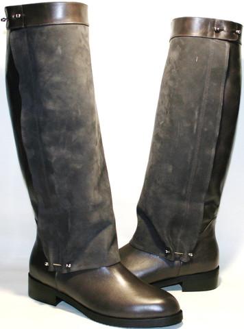 Сапоги зимние женские кожаные на низком каблуке европейки Richesse коричнево серые