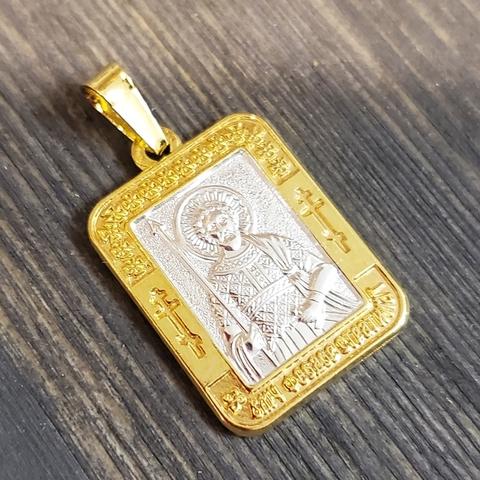 Нательная именная икона святой Федор с позолотой кулон медальон с молитвой