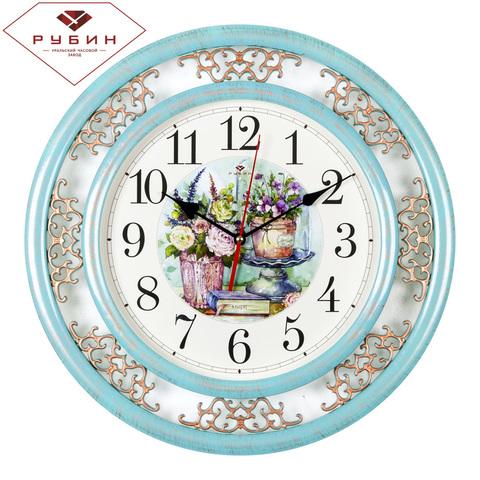 4545-002 (10) Часы настенные круг d=45 см, корпус бирюзовый с бронзой