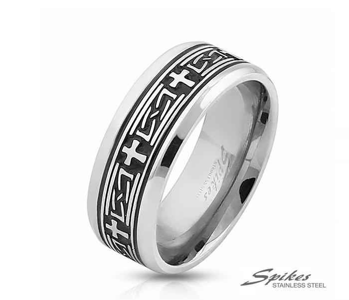 R-M3920-8 Мужское кольцо из стали с чернением и крестами, «Spikes»