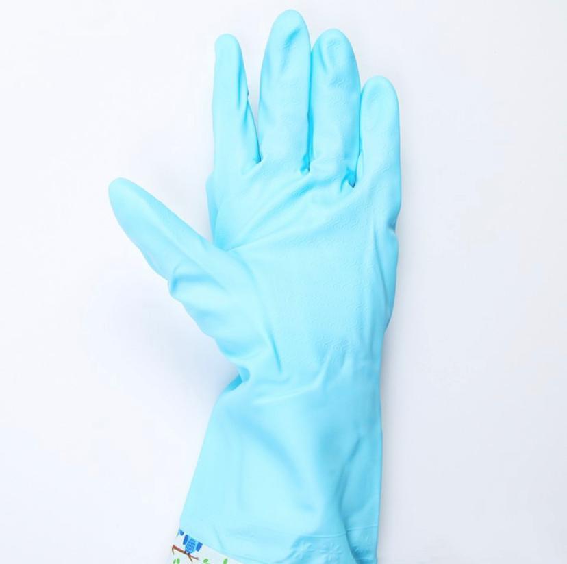 Картинка - Перчатки хозяйственные с утеплителем длинные манжеты Голубые совы