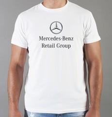 Футболка с принтом Mercedes-Benz (Мерседес-Бенц) белая 04