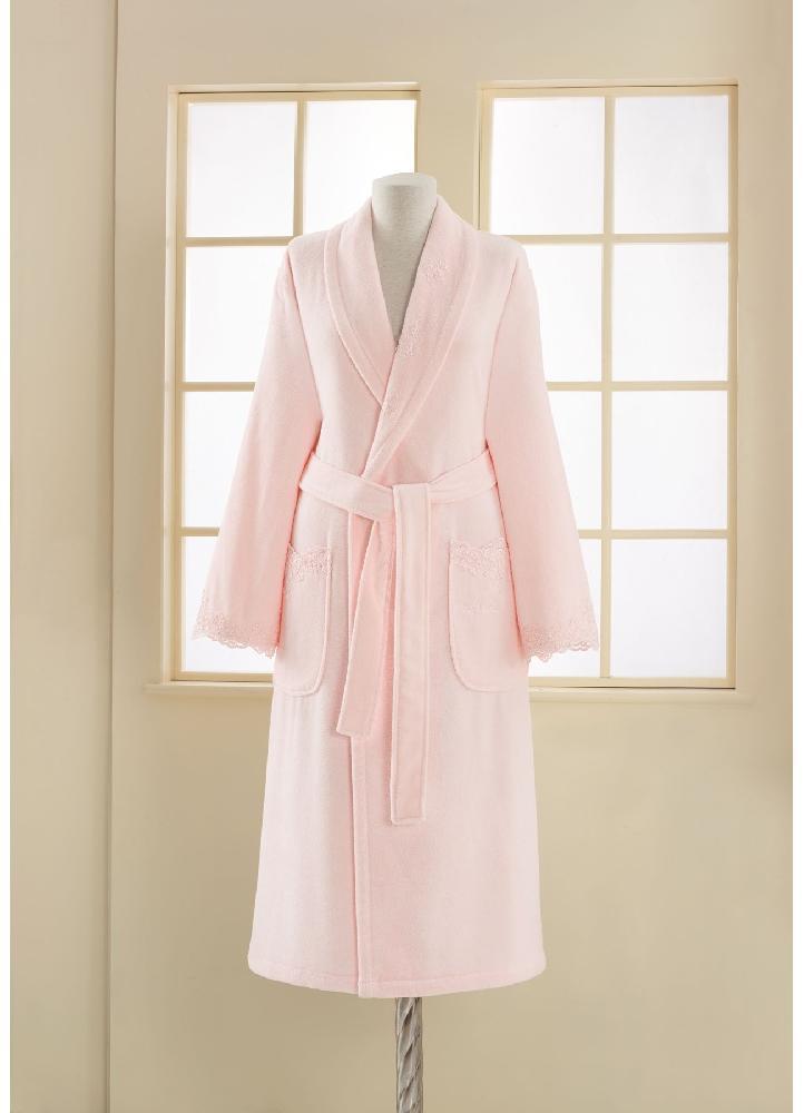 Махровые халаты DIANA- ДИАНА  розовый махровый женский халат Soft Cotton (Турция) диана_роз.jpg