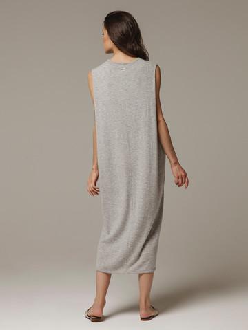 Женское серое платье свободного кроя без рукавов из 100% кашемира - фото 3
