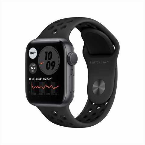 Apple Watch Nike Series 6, 40 мм, корпус из алюминия цвета «серый космос», спортивный ремешок Nike цвета «антрацитовый/чёрный»