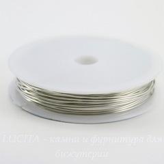 Проволока медная 0,8 мм, цвет - серебро, примерно 3 метра