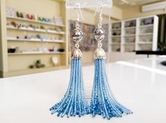 Серьги бисерные голубые длинные из 18 нитей