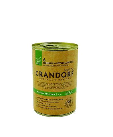 Grandorf консервы для собак ягненок и телятина 400г