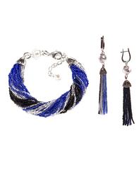 Комплект украшений из бисера черно-синий (серьги из бисера, бисерный браслет)