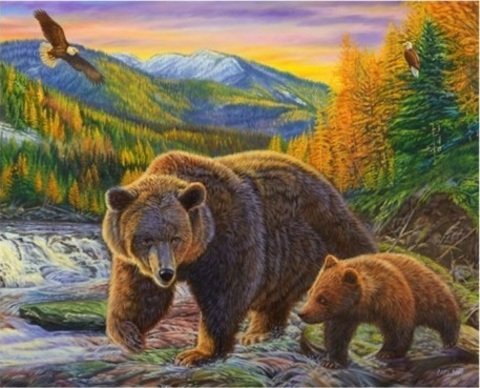 Алмазная Мозаика 40x50 Медведица с медвежонком (арт. GA70874)