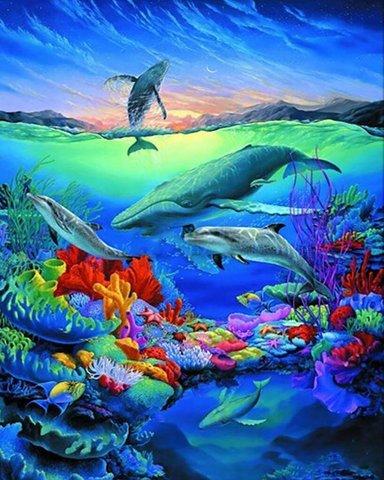 Алмазная Мозаика 30x40 Дивный подводный мир