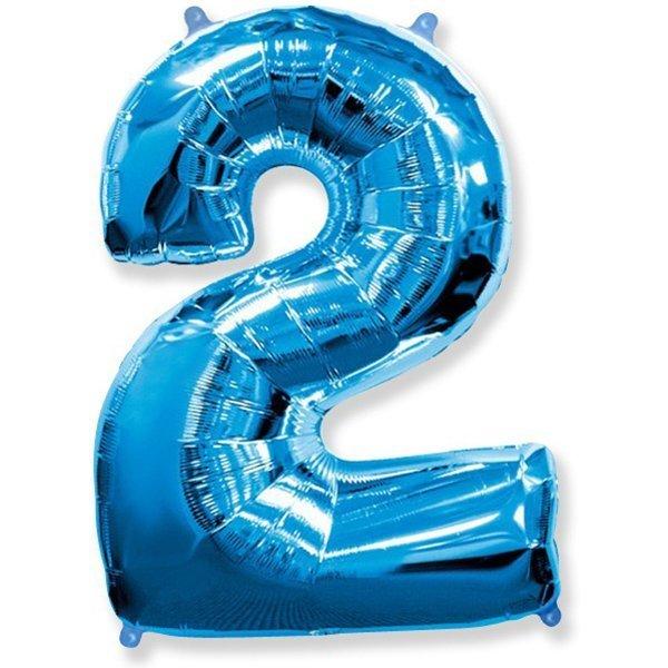 Фольгированная цифра 2, синий