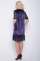 Шикарное платье свободного кроя из бархата, волан и рукава из гипюра-стрейч. (Длина 93 см)