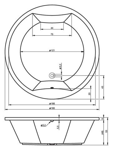 Ванна акриловая Riho Colorado 180 BB02 схема