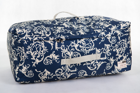 Мягкий супербольшой кофр для объемных вещей, XXL, 63*48*32 см (темно-синий с узорами)
