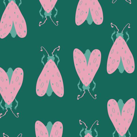 Розовая моль на тёмно-зелёном. Pink moths on dark green background