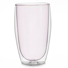 Стакан с двойными стенками цветной 450 мл, розовый