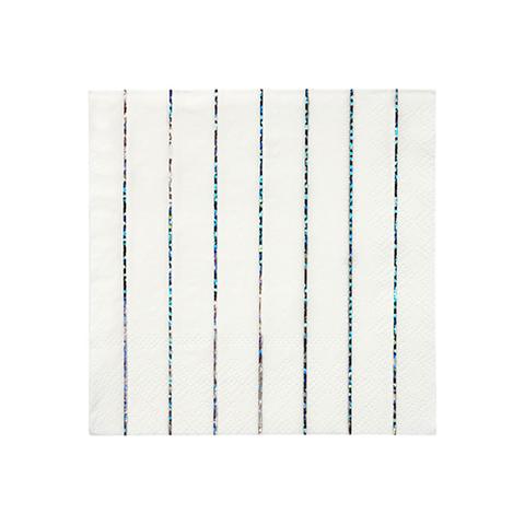 Салфетки в полоску (серебрянный глиттер)
