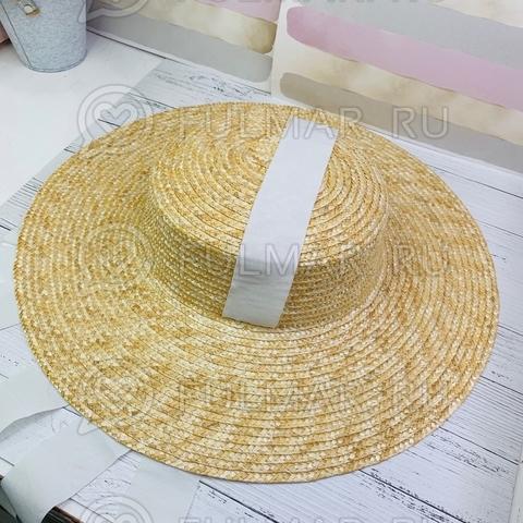 Большая оригинальная шляпа с длинными белыми лентами женская летняя