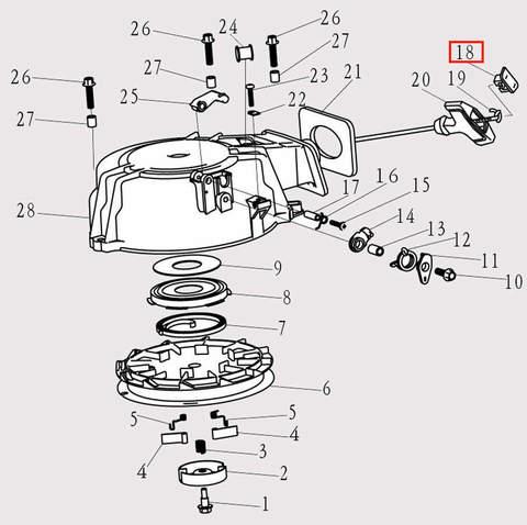 Заглушка ручки стартера для лодочного мотора F9.8 Sea-PRO (8-18)