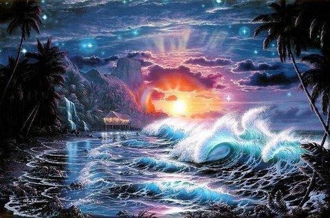 Алмазная Мозаика 30x40 Сказочное побережье океана