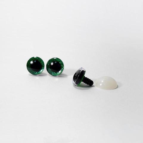 Глазки пластиковые с искоркой 12 мм зеленые
