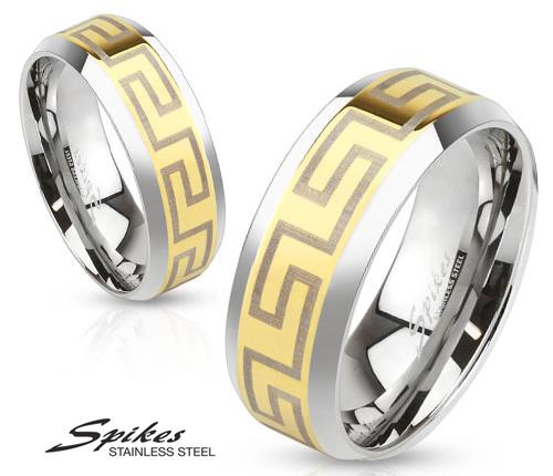R-M3649 Золотистое мужское кольцо «Spikes» из стали с узором