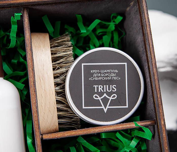 Подарочный набор средств для ухода за бородой: шампунь, бальзам и щетка фото 02