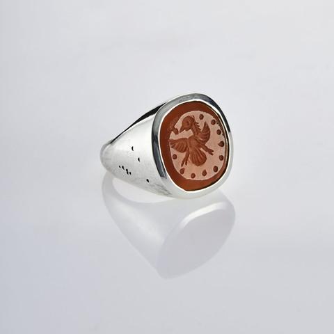 Кольцо-печатка с инталией 14.5 (сердолик, антик)
