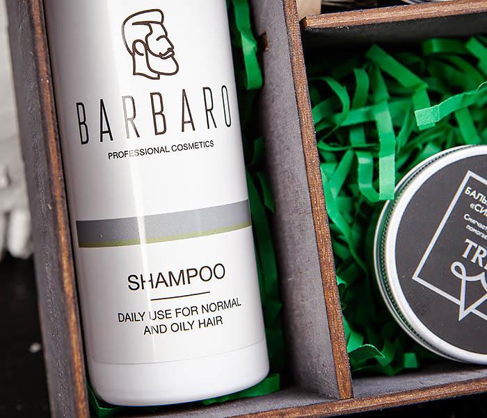Подарочный набор средств для ухода за бородой: шампунь, бальзам и щетка фото 04
