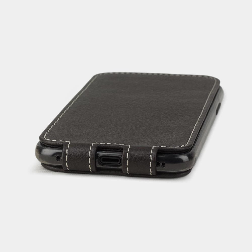 Чехол для iPhone X/XS из натуральной кожи теленка, темно-коричневого цвета