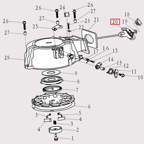 Ручка стартера для лодочного мотора F9.8 Sea-PRO (8-20)