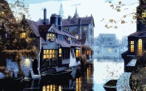 Картина раскраска по номерам 50x65 Дома в воде