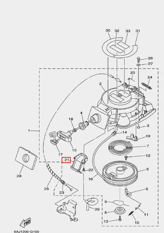 Кожух шкива для лодочного мотора F20 Sea-PRO (10-21)