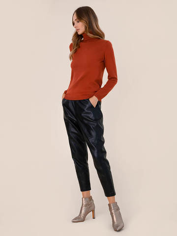 Женский свитер терракотового цвета из шерсти и шелка - фото 5