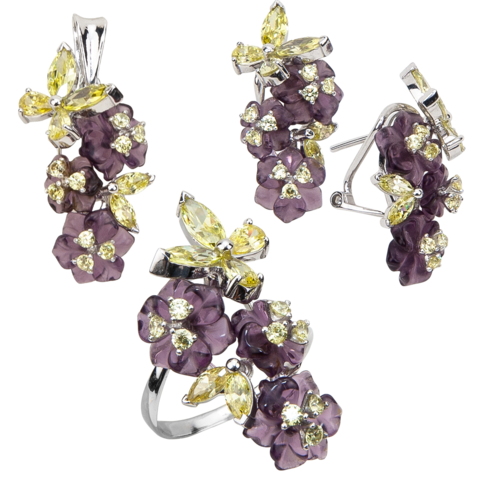 Комплект украшений с цветами из фиолетового кварца и фианитами № 155