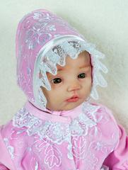 Велюровый наряд на крестины девочке Мари розовый
