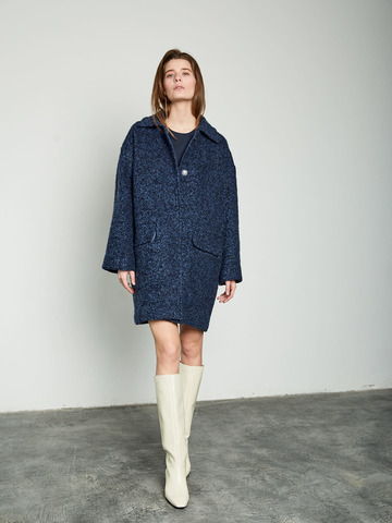 Пальто букле т. синий