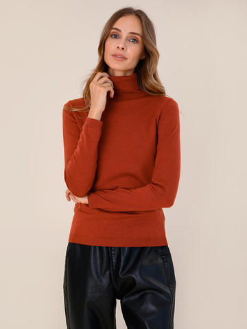 Женский свитер терракотового цвета из шерсти и шелка - фото 2