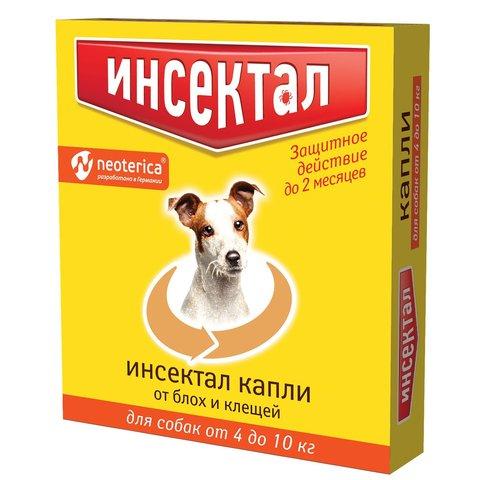 Инсектал капли для собак 4-10кг от блох и клещей