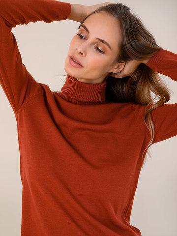 Женский свитер терракотового цвета из шерсти и шелка - фото 3